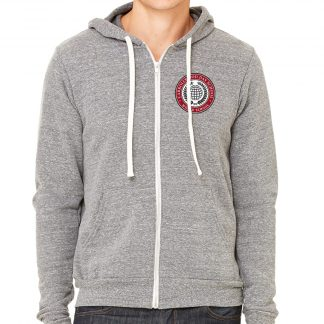 Bella-Canvas-Unisex-Triblend-Sponge-Fleece-Full-Zip-Hoodie-in-Grey-Triblend-CDS-Globe-Logo