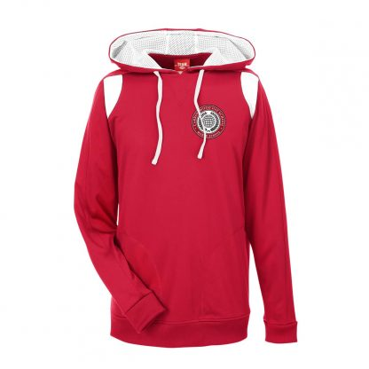 Team-365-Mens-Elite-Performance-Hoodie-in-Sport-Red-CDS-Globe-Logo