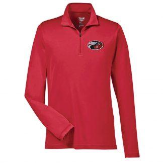 Team-365-Mens-Zone-Performance-Quarter-Zip-in-Sport-Red-CDS-Eagle-Logo