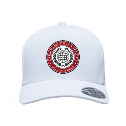 Team-365-by-Flexfit-Adult-Cool-Dry-Mini-Pique-Performance-Cap-in-White-CDS-Globe-Logo