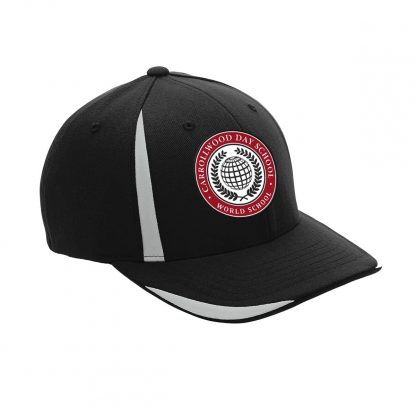 Team-365-by-Flexfit-Adult-Pro-Formance-Front-Sweep-Cap-in-Black-CDS-Globe-Logo