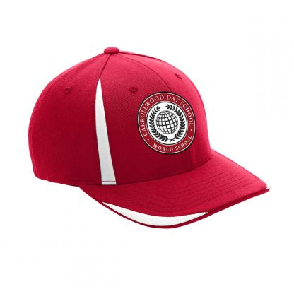 Team-365-by-Flexfit-Adult-Pro-Formance-Front-Sweep-Cap-in-Sport-Red-CDS-Globe-Logo