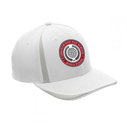 Team-365-by-Flexfit-Adult-Pro-Formance-Front-Sweep-Cap-in-White-CDS-Globe-Logo